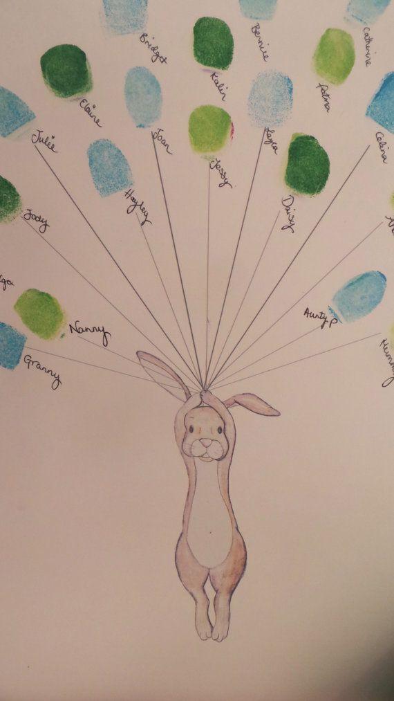Ducha bebé arte recuerdo conejo con globos por mylovebubble en Etsy
