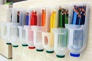 Organizador de lápicesIdeas, Recycle, Organic, Colors Pencil, Milk Jugs, Milk Bottle, Diy, Crafts, Pencil Holders
