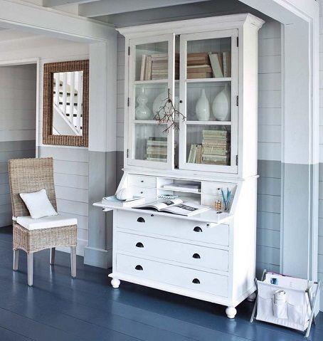 yari boyanmis duvar dekorasyon trendi mavi gri beyaz