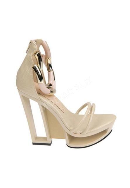 Ziya Tasarım ayakkabı Bej rugan yüksek dolgu topuk 36 numara
