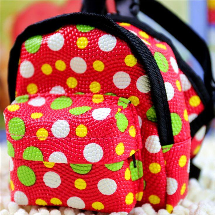 Pet Dog Food  Backpack Dot PU Bag Teddy Dog Tool BackPack with leash Dog Shoole Bag Size S M L