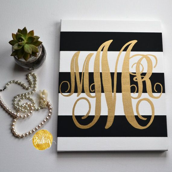 Striped Monogram Canvas Painting Black & Gold by GoldenPaisley