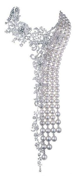 Mikimoto pearl and diamond necklace, Spectacular! (ok, it isn't Tiffany - but it would look GREAT with that ring :)