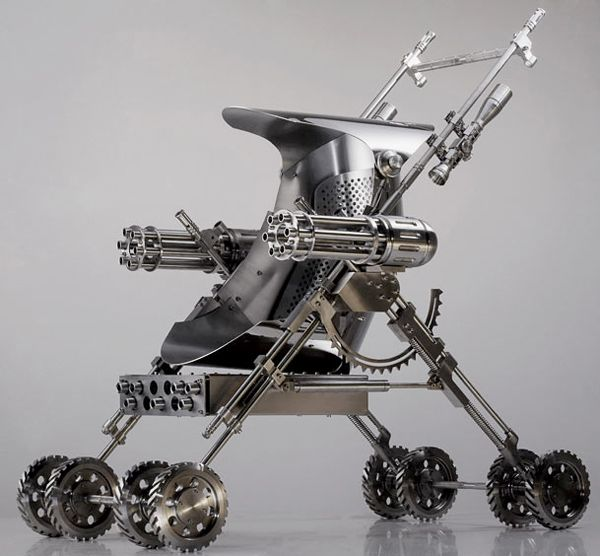 Shi Jinsong. Na Zha Baby Boutique exhibition, a series of stainless steel sculptures depicting baby accessories—rattle, cot, stroller, etc.—made from razor-sharp blades (Na Zha is a child warrior deity in Chinese mythology).