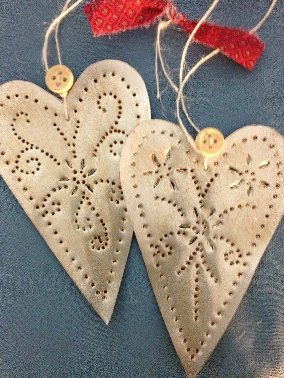 Punch Tin Heart Ornaments Set of 12