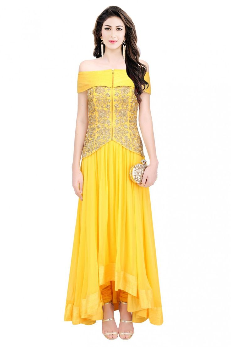 Yellow Colour Crepe Silk Fabric Western Wear Gown Comes with matching blouse. This Gown Is crafted with Embroidery This Gown Comes As a Semi stitched Which Can Be Stitched Up to Size 42....