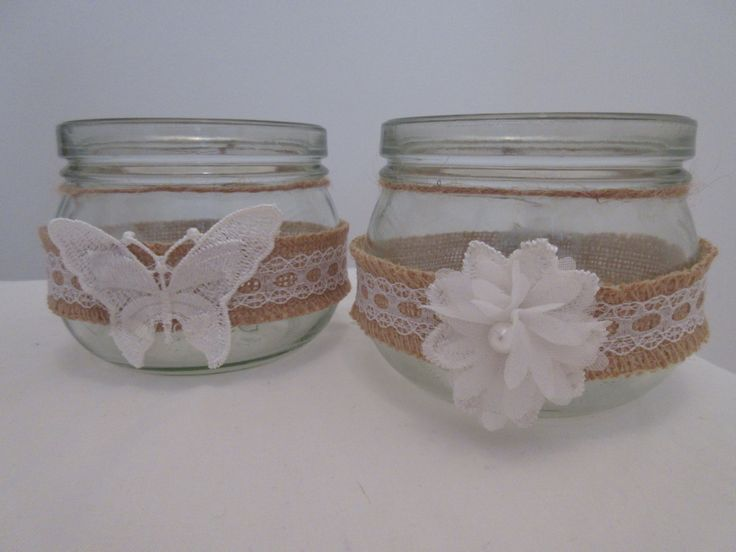 8 Hessian Lace Handmade Glass Jars by BowsandSurprises on Etsy