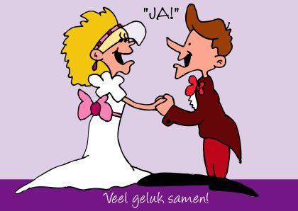 bruidspaar gelukswens humor - Studio Zet