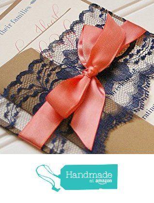 Navy and Coral Wedding Invitations. Handmade Cards. Rustic Wedding. Shabby Chic Wedding. Vintage Wedding. from Anna Lou Avenue http://www.amazon.com/dp/B015DLWX8W/ref=hnd_sw_r_pi_dp_DyHTwb1JK6WNB #handmadeatamazon