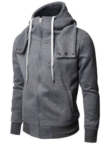 Doublju Mens Zip up Hoddies With Long Sleeve Napping in 2 Styles