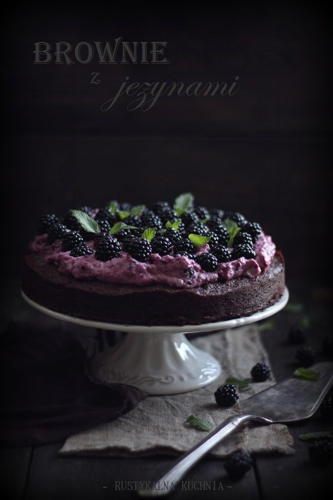 rustic kitchen - cooking at home: Brownie with cream blackberry