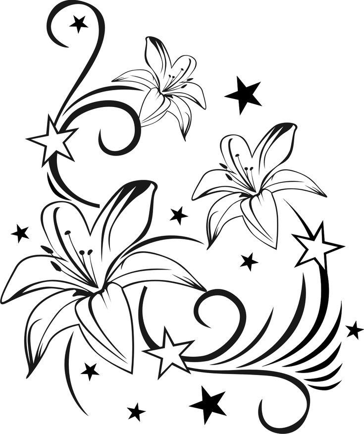 Perfect Lilienranke mit Sternen Wandtattoo Wandsticker und Wandaufkleber
