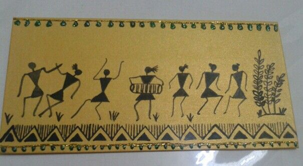 Warli art envelope painting at Jstudio for orders pls contact at 08454843808