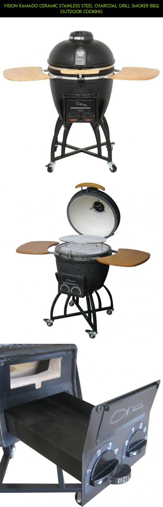 Vision Kamado Ceramic Stainless Steel Charcoal Grill Smoker BBQ Outdoor Cooking #fpv #kamado #camera #technology #racing #gadgets #kit #products #grills #drone #parts #vision #tech #shopping #plans