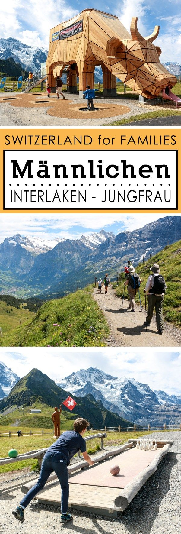 Gorgeous panorama views from this easy family hike that winds along the mountains below the Jungfrau, with a playground to reward good little hikers.