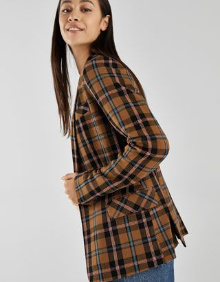 a42fb5506cff6 Checked double breasted blazer - Checked - Bershka Singapore | Eye ...