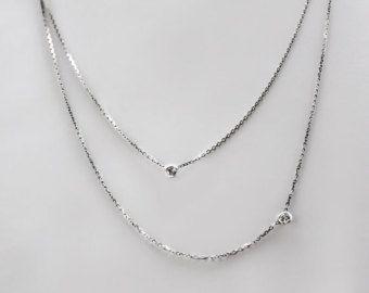 Collar de diamantes solitario delicado.20 ct oro de 14 por cestsla