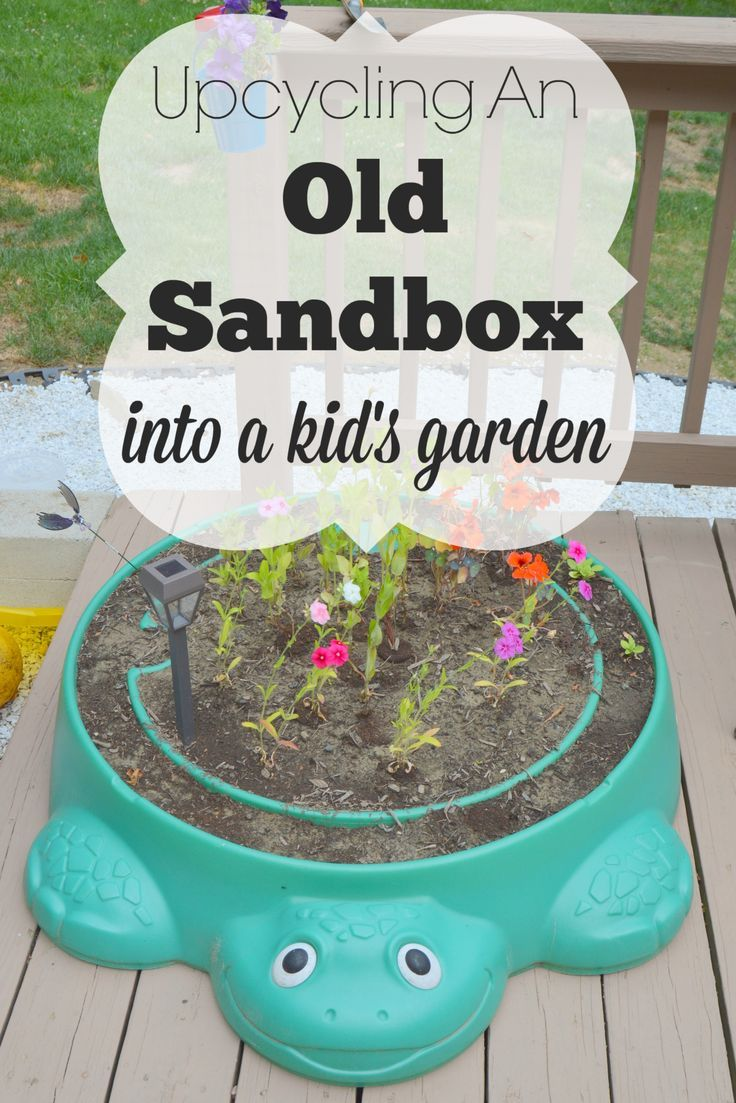 Do you have an old plastic sandbox lying around that your kids have outgrown? Don't toss it. Upcycle it into an adorable kid's garden!