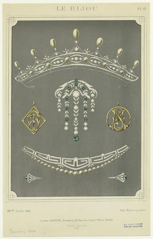 1912, two sketches for pearl tiaras. Top, an open-work band of seven diamond motifs, separated by six button pearls and topped with seven pear-shaped pearls. Bottom, a meander-style diamond tiara topped by multiple pearls
