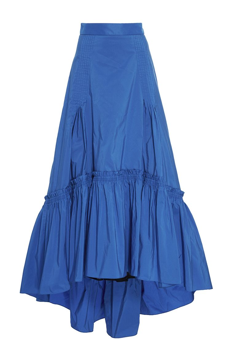 Bright Blue Taffeta Long Skirt by PETER PILOTTO Now Available on Moda Operandi