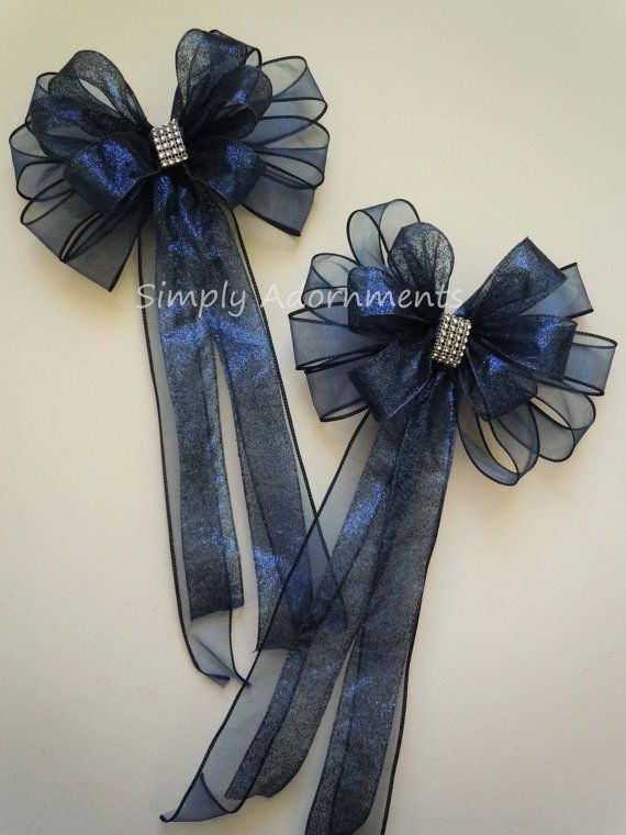Navy Blue Wedding Pew Bow Tulle Bling by SimplyAdornmentsss