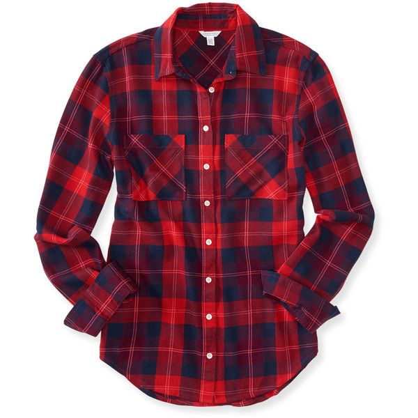 Aeropostale Long Sleeve Plaid Woven Shirt found on Polyvore featuring tops, classic red, button up shirts, purple plaid shirt, red shirt, red button down shirt and purple shirt