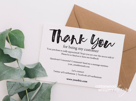 Instant Business Thank You Cards Editable Pdf Printable Packaging Inserts For Online Shops Business Thank You Notes Business Thank You Business Thank You Cards