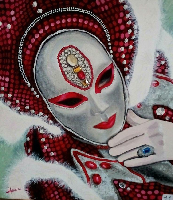 Masque de Venise paillettes roses. Peinture acrylique, Christine Monsion