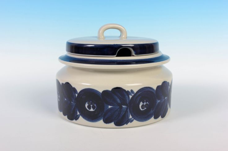 """Soup Tureen 7-1/2"""" (19cm) with Lid - Blue Anemone - Arabia Finland - Ulla Procope - Hand Decorated - Scandinavian Dishware by ThePapers on Etsy"""