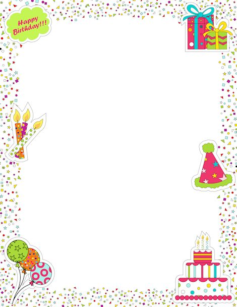 Printable page border featuring birthday graphics like candles, cake, presents, and confetti. Free downloads at http://pageborders.org/download/birthday-border/