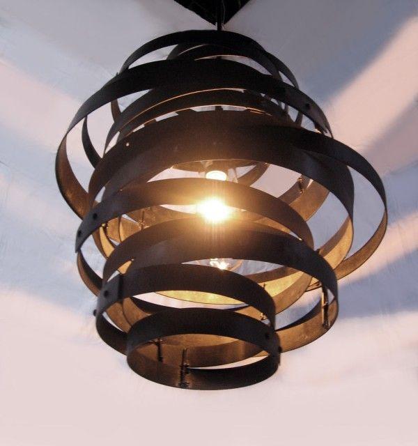 Vortex: Recycled steel wine barrel hoops Lamps & Lights
