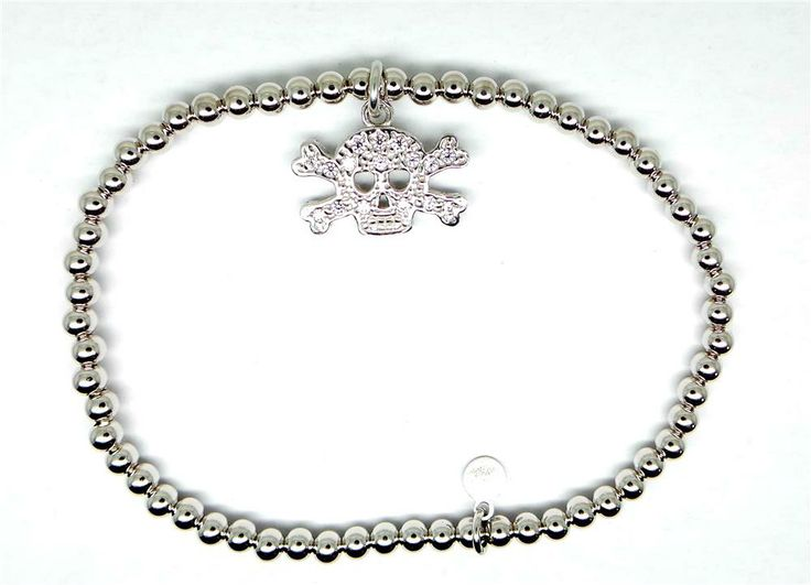 CP gioielli braccialetto teschio e zirconi