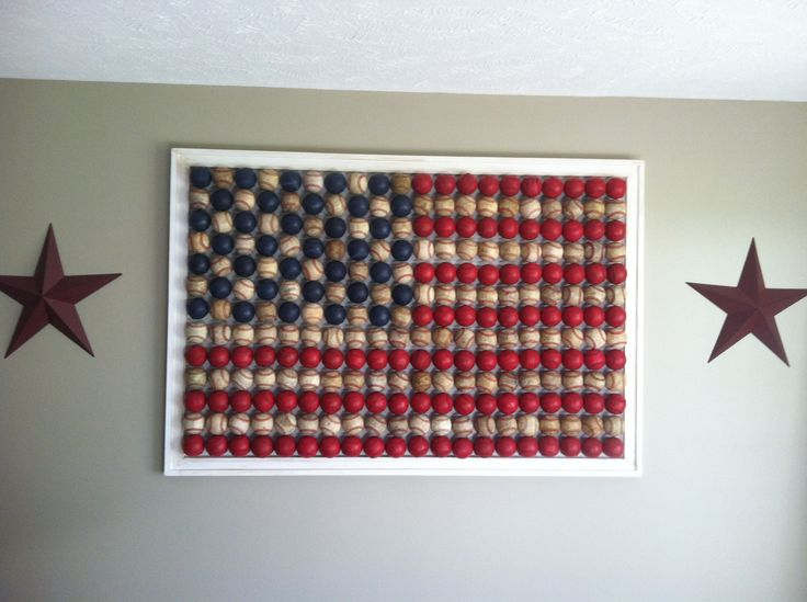 Our country version of the red robin baseball flag. The boys and I collected baseballs for 2 years!