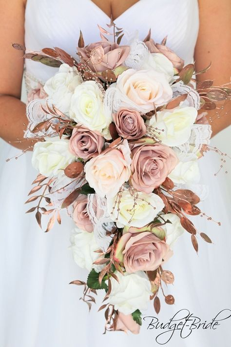 Rose gold Wedding Flowers dusty rose blush pink roses cascading tear drop