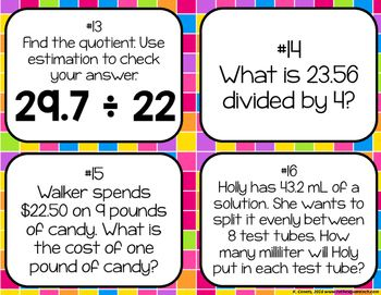 Dividing Decimals by Whole Numbers Task cards by To the Square Inch- Kate Bing Coners | Teachers Pay Teachers