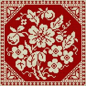 Black-eyed Susan - square doily | Chart for cross stitch or filet crochet.
