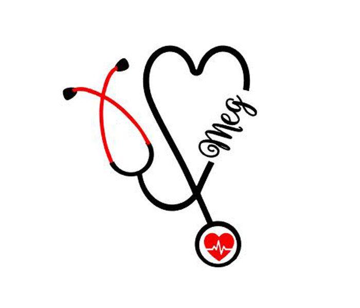 Nurse Stethoscope Sticker, Yeti Sticker, Heart Stethoscope decal, Personalized Stethoscope Sticker Nurse Sticker nurse gift Nurse Graduation by BlueKitty2000 on Etsy