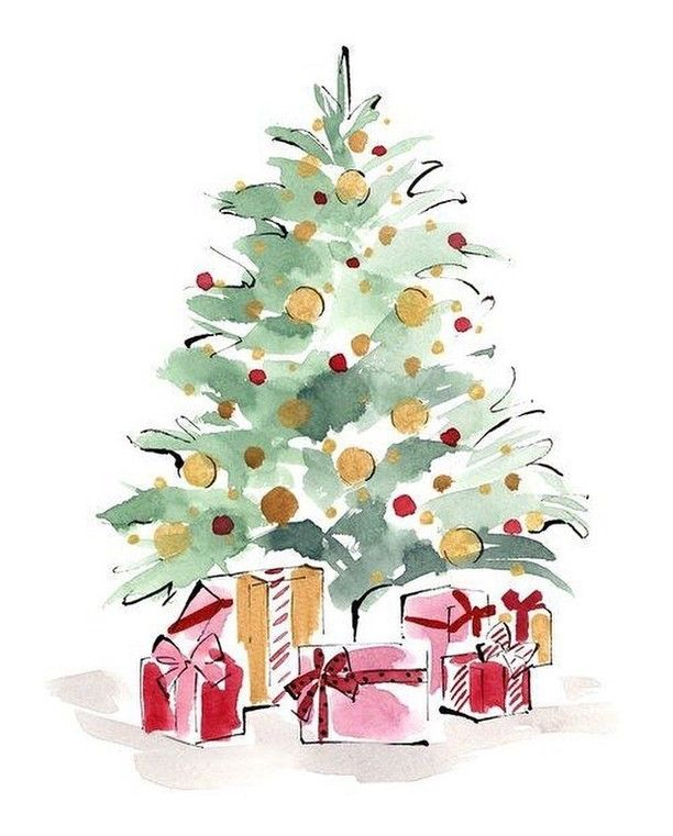 Merry Christmas Everyone We Hope You Are Enjoying The Holidays And Time Spent With Fa Christmas Tree Painting Christmas Watercolor Watercolor Christmas Cards