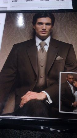 brown tux from Jos A. Bank