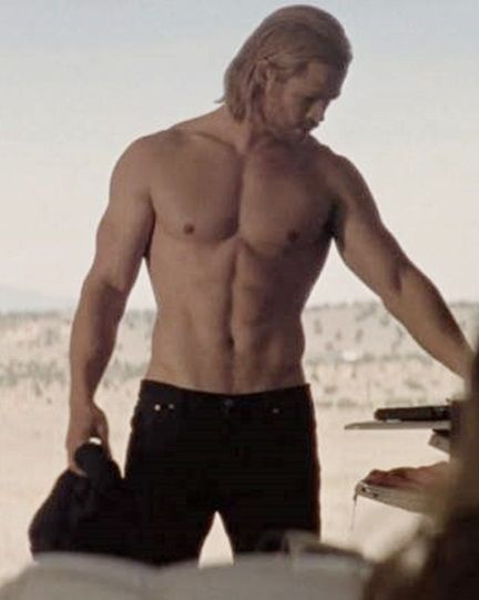 Chris Hemsworth. I just found out he has an Australian accent! Um the only thing that could make him sexier is if he sweats chocolate!