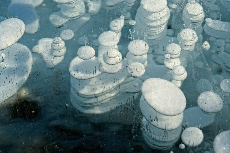 Frozen bubbles - Abraham lake Canada
