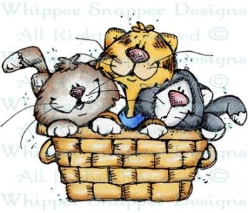 Basket Full of Kittens - Cats - Animals - Rubber Stamps - Shop