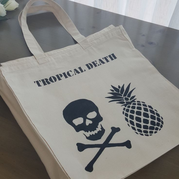 Large market bag with zipper - Tropical Death - hand painted by Grafeeq on Etsy