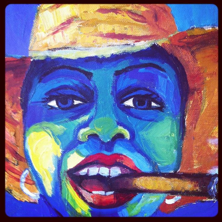 Kunst uit Cuba, gekregen als bedank!   Vrolijke kleuren, sigaar, prachtige doek aan de muur.