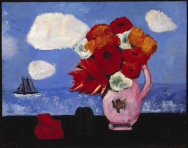 Summer Clouds and Flowers, Marsden Hartley, 1942. Brooklyn Museum, Bequest of Edith and Milton Lowenthal, 1992.11.19. © Estate of Marsden Hartley, Yale University Committee on Intellectual PropertyMarsden Hartley, Flower Artists, Vigors Preparing, American Art, Summer Clouds, House, Brooklyn Museums, 1942, Hartley Spent