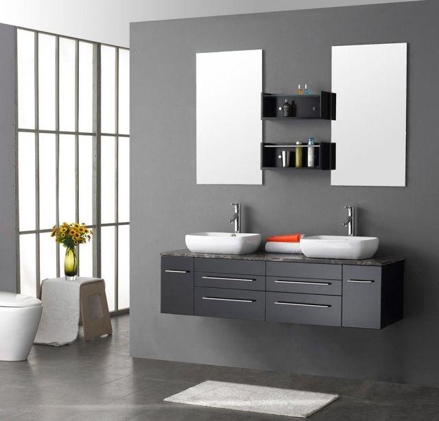 double miroir salle de bains en forme rectangulaire et double vasque