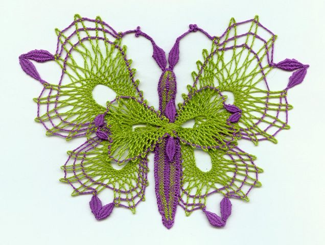 """Patty Dowden writes: """"The butterfly was a gift to a young girl at church who was redecorating her bedroom to something a little more grown up. I said I would make her a butterfly to put in her new butterfly bedroom. Then I asked what color it should be. She answered green and purple and pointed out examples of the exact shades. So I did it."""