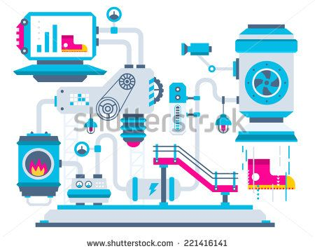 Vector industrial illustration background of the factory for processing sneakers. Color bright flat design for banner, web, site, advertising, print, poster. - stock vector