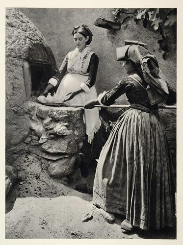 1937 Sardinian Woman Costume Oven Sardinia Island Italy - ORIGINAL PHOTOGRAVURE--I want an outdoor bread oven!!