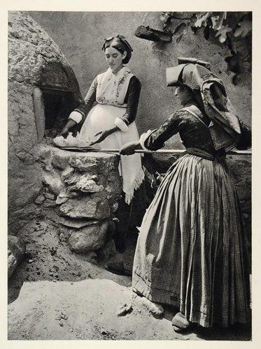 1937 Sardinian Woman Costume Oven Sardinia Island Italy - ORIGINAL PHOTOGRAVURE